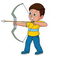 boy practing archery with bow arrow